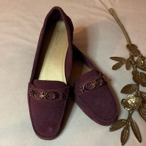 Coach Suede Loafers Driving Shoes Purple Size 8.5